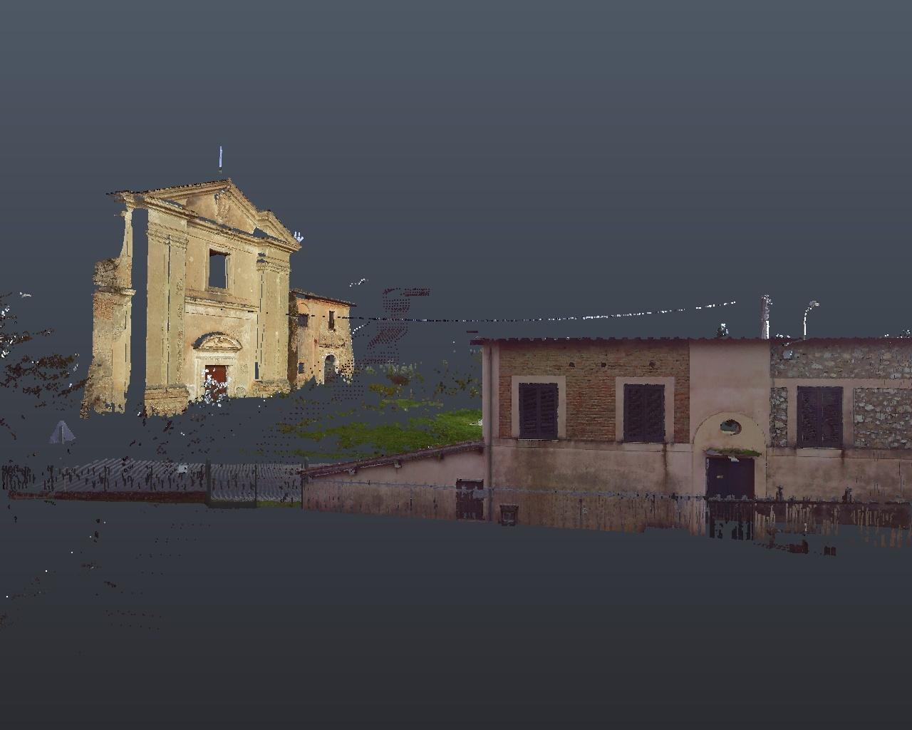Rilievo laser scanner: Chiesa San Biagio Cantalupo (Rieti) - facciata frontale (distanza)